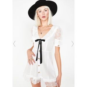 FOR LOVE & LEMONS Royale White Baby Doll Dress S